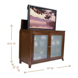 "Touchstone Home Products - Brookside Mocha Cherry TV Lift Cabinet for Flat Screen up to 60"" - The Brookside TV Lift Cabinet was one of the first models offered by Touchstone, and it has shown staying power by continuing to be one of our most popular units. If you're looking for a true showpiece to complete your entertainment tableau, the Brookside fits the bill. Its art-caliber design with solid lines and striking good-looks will serve as the focal point for your family or living room. This heirloom-quality cabinet with quiet, smooth electro-mechanical lift accommodates most 60"" diagonal flat panel plasma and LCD TVs. It features solid birch with medium cherry veneers offset with tempered, frosted glass panels."