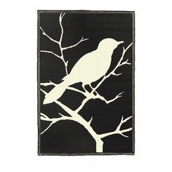 Bird Print Floor Mat, Midnight/Off-white