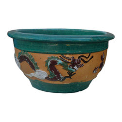 "Golden Lotus - Chinese Dragon Phoenix Ceramic Round Planter - Dimensions:  Dia 18.25"" - center Dia 14.75"" x h9"""