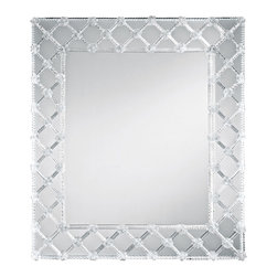 """Inviting Home - Rectangular Venetian Wall Mirror - Venetian glass mirror; 45""""W x 3""""D x 50-1/2""""H; hand-blown Murano glass rosettes; hand-crafted in Murano (Italy) ; Beautiful hand-crafted rectangular Venetian wall mirror has an eye-catching design. Mirror embellished with seventy eight hand blown rosettes and glass ribbons. Mirror has a solid wood back. This Venetian mirror is hand-crafted in Italy"""