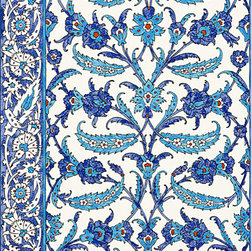 "Topkapi Wallpaper, Peacock - Martyn Lawrence released this ""Topkapi"" paper in blue as an homage to the tiles that lined the royal suites in Istanbul's Topkapi Palace. It would look great in an entire bathroom, or just on the wall where the mirror and vanity are placed."