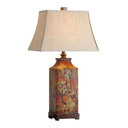 Uttermost Colorful Flowers Table Lamp - Colorful flower print with burnished walnut finished details. Colorful flower print with burnished walnut finished details. The rectangle bell shade is an ivory linen fabric.