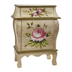 "Nearly Natural - Antique Night Stand w/Floral Art - An ideal accent piece to a bedroom or anywhere else a pretty night stand fits the bill, this night stand has become one of our most requested items. Standing 26.5"" high and featuring three drawers, it displays a classic floral pattern with an old-fashioned antique design. Quite frankly, to see it is to fall in love with it. it also makes a thoughtful gift for someone who appreciates beautiful things."