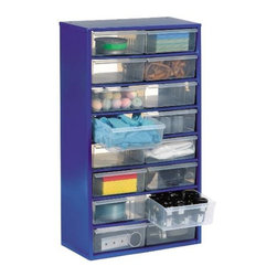 """GLOBAL EQUIPMENT COMPANY - Cabinet Steel Multidrawer with 16 5 x 23/8 Drawers 12 x 6 x 22 - Mounts on Wall or Sits on Shelving. Transparent 6"""" Long Drawers. Drawer Guides Provide Smooth Pull-Out."""