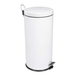 White Jumbo Round Step Can - Modern and white, this step can would fit in almost any kitchen.