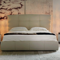 Cattelan Italia - Cattelan Italia | Marshall Bed - Made in Italy by Cattelan Italia. Designed to make a bold statement in the bedroom and showcase genuine Italian craftsmanship, this Marshal Bed gives its occupants the royal treatment. Harmoniously marrying luxury and flair into the masterpiece, the all-leather bed also features a large kingly headboard boasting elegant tufting detail and square design throughout the frame. In addition, bedtime chatting, reading and TV moments are sure to be more enjoyable as you rest your back on the lavishly cushioned headboard. To suit your needs, the furniture comes with several options, including bed sizes, leather colors and textures, and pull-up storage. The premium leather covering is not removable but easy to clean. Mattress not included.