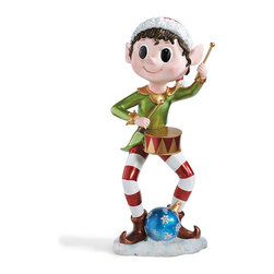 Frontgate - Pixie Drummer Elf - Outdoor Christmas Decorations - Crafted of nonfading, hand-painted resin. Sit just as easily in a snow-filled lawn as they will on the front porch. Whimsicle addition to your outdoor display. Decorate your walkway with a parade of melodious Pixie Elves – each with their own musical instrument in hand. Their pointed ears, rosy cheeks, wide-eyed expressions endear them to passersby.. .
