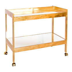 Kathy Kuo Home - Gia Hollywood Regency Gold Mirror 2 Tier Serving Bar Cart - Slow your roll and live in the luxurious moment with a double decker, brushed gold serving cart. The mirrored shelves hold everything from plates to ice buckets. Four sturdy legs with gold-covered wheels allow smooth mobility for delivering your delights to family and friends.