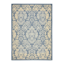 "Safavieh - Courtyard Blue/Brown Area Rug CY2727-3103 - 7'10"" x 7'10"" Square - Safavieh takes classic beauty outside of the home with the launch of their Courtyard Collection. Made in Belgium with enhanced polypropylene for extra durability, these rugs are suitable for anywhere inside or outside of the house. To achieve more intrica."
