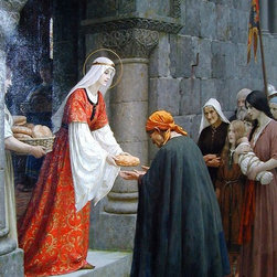 """Edmund Blair Leighton The Charity of St. Elizabeth of Hungary  Print - 16"""" x 24"""" Edmund Blair Leighton The Charity of St. Elizabeth of Hungary premium archival print reproduced to meet museum quality standards. Our museum quality archival prints are produced using high-precision print technology for a more accurate reproduction printed on high quality, heavyweight matte presentation paper with fade-resistant, archival inks. Our progressive business model allows us to offer works of art to you at the best wholesale pricing, significantly less than art gallery prices, affordable to all. This line of artwork is produced with extra white border space (if you choose to have it framed, for your framer to work with to frame properly or utilize a larger mat and/or frame).  We present a comprehensive collection of exceptional art reproductions byEdmund Blair Leighton."""