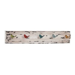 Rectangular Panel with Multicolored Bird Hooks - The little bird hooks on the Rectangular Panel with Multicolored Bird Hooks sure come in handy when you need to store your keys, scarves, and other essentials. Five metal hooks, each topped with a colorful wooden bird, are mounted on the rectangular back panel, whose white finish and heavy distressing create that perfect vintage vibe.