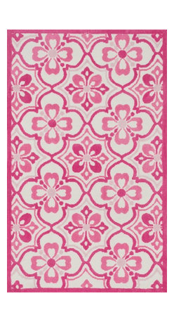 "Loloi Rugs - Loloi Rugs Zoey Collection - Pink, 5'-0"" x 7'-0"" - Zoey is a delightful collection of lighthearted, cheerful patterns in pinks, blues and greens that are perfect for young kids or the young at heart. Power loomed in China of super soft polyester microfiber, Zoey rugs are durable, yet soft enough for infants and toddlers to cozy up to.�"