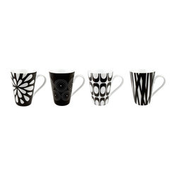 Konitz S/4 Assorted Black and White Mugs