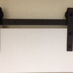 """Barn Door Hardware - Complete set of Steel Sliding Barn Door Hardware specially designed for wood doors 1 3/4"""" thick, suitable for room dividers, office partitions, and closet doors. Available in Oil Rubbed Bronze (Venetian Antique) finish."""