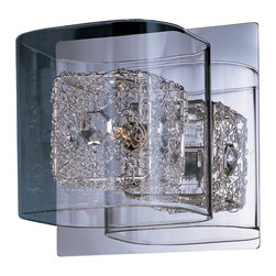 ET2 lighting - E22830-18PC Gem 1 Light Wall Sconce in Polished Chrome with Clear Glass - The Gem Collection's clear, square-glass cubes float on a Polished Chrome metal frame. Suspended inside the cubes, woven metal cubes sparkle with a crystal gem embedded on the side. The xenon lamps beam crystal clear light to bring the gem to life.