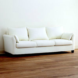Ivory Canvas Luxe Three-Seat Sofa Slipcover Collection