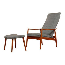Pre-owned Danish Modern Teak Reclining Lounge Chair by Søren - The recliner done right, designed by Søren J. Ladefoged and manufactured by SL Møbler. Chair and ottoman are constructed with a teak frame. Made in Denmark, circa 1950s.