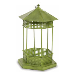 Achla - Green Gazebo Style Bird Feeder House - The Green Iron Gazebo Bird Feeder takes the classic styling of a traditional park gazebo and cuts it down to size to suit our feathered friends!  This attractive bird feeder is crafted of sturdy Iron finished in an appealing Green patina.  Feed the cardinals, chickadees, jays, wrens, sparrows, and other enchanting birds around your home with this attractive gazebo style bird feeder that comes in a handsome green patina finish.  It can be hung or placed anywhere you desire.  Charmingly styled to resemble a gazebo in miniature, this stylish and practical Bird Feeder is finished in Iron and is given a durable green patina finish. * Iron construction. Green Patina finish. 7.5 W x 8.5 D x 13.5 H in.