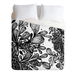 DENY Designs - DENY Designs Julia Da Rocha Wild Leaves Duvet Cover - See things in beautiful black and white with this modern duvet cover from DENY Designs. Alive with artist Julia Da Rocha's organic form, it was custom-created using a six-color printing technique that directly dyes the buttery-soft woven front. A cozy cotton-blend on the backside was created for cuddling. We love how the classic color scheme plays well with just about any hue. Talk about beauty rest! Pillowcases not includedAvailable in multiple sizesZip closureInterior corner tiesCustom printed for every orderWoven polyester front / cotton-polyester backMachine washableDesigned by Julia Da RochaMade in the USAShips in 1 week