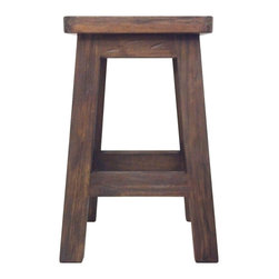 Selamat Designs - Milking Stool - Hand Hewn Teak - Hand hewn teak with a charming wired brushed finish does double duty as a rustic little stool or end table.
