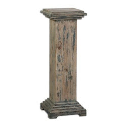 Uttermost - Uttermost Alejo Aged Wood Pedestal - With hints of Prussian blue paint on smooth, faded gray, weathered fir, this solid wooden pedestal makes a sturdy and attractive place for a statement piece.