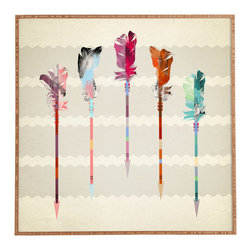 Iveta Abolina Feathered Arrows Framed Wall Art - Bamboo frame with high gloss print