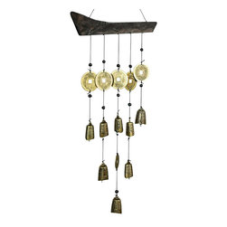 Oriental Unlimted - Tibetan Bell Wind Chime - Unique design characterized by a generous assortment of Tibetan Bells. Made from a solid piece of shaped-wood which is strung with multiple cords of Tibetan bells. No assembly required. 22 in. L