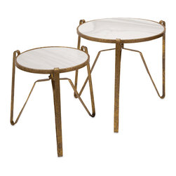 Distressed Marble Top Accent Tables - Set Of 2 - Three is company: A pair of tri-legged accent tables contrast smooth marble surfaces with lightly distress iron bases in a mottled gold finish.