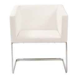 Eurostyle - Ari Lounge Chair-Wht/Chrm - Upholstered in soft leatherette over foam