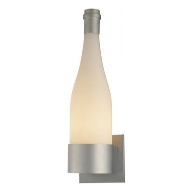 George Kovacs - George Kovacs Bottle Design Wall Sconce - Forget 99 bottles of beer. After laying eyes on this striking wine bottle-inspired sconce, it's all you'll want on your wall. The perfect combination of cheeky and chic, George Kovacs' inspired design features a white frosted glass shade and a sleek silver finish. It's perfect for your kitchen or wine cellar, but serves up a welcome splash of whimsy anywhere.