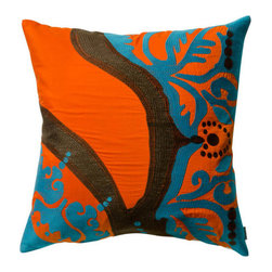 The Koko Company - Coptic Orange 18 x 18 Pillow - - Secrets from an old Egyptian textile traditional  - Finish/Color: Orange  - Width: 18  - Depth: 18  - Height: 18  - Pillow and Fill Material: cotton  - Laundering Information: Machine wash low heat dry The Koko Company - 91913