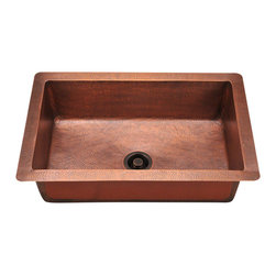 """MR Direct - MR Direct 903 Single Bowl Copper Sink - The 903 single bowl undermount sink is made from 99% pure-mined copper. It is comprised using one piece construction, giving you a very strong and durable copper sink. Since copper is stain resistant, it is great for busy households that benefit from low-maintenance materials. The hammered finish looks great and provides a mask for small scratches that may appear over time. The overall dimensions of the 903 are 33"""" x 22"""" x 10"""" and a 33"""" minimum cabinet size is required. The sink contains a centered 3 1/2"""" drain opening and copper strainers and flanges are available. The hand-crafted copper details are sure to add warmth and richness to any decor. Strainers not included."""