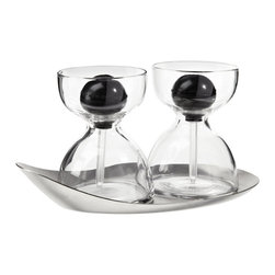 Contemporary Oil & Vinegar Glass - Set of 2 - Use these Oil & Vinegar Glasses for oil and vinegar, maple syrup and honey, or pesto and truffle oil.