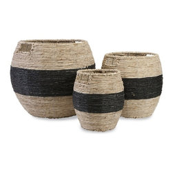 IMAX - Dorran Woven Basket - Set of 3 - Corn husks woven over a sturdy iron frame form the basis of black-banded baskets with handles and a storage solution with style.