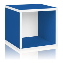 Way Basics - Way Basics Bookcases zBoard Eco 12.8 in. x 13.4 in. Blue Stackable Storage Cube - Shop for Storage & Organization at The Home Depot. Stackable Modular Storage Cubes. Simple design solution and eco-friendly furniture. An excellent home organizer for modern living. Behold our most basic creation flexing its muscles. Truly modular in every sense of the word there are endless configurations and possibilities for the design guru. Each Cube is separate from each other so you can satisfy your design itch when you feel like changing things up a bit. Stack them side to side on top of each other or get creative and build a pyramid and ladder design. Mix and match colors or just keep it simple with a single shade. Check out the additional images for ideas and send us your creations too. To assemble zBoard storage products simply peel stick done. Tool-free and hardware free. Super strong 3M heavy duty adhesive bonds the boards together. All our products are formaldehyde free and VOC free so it's safe for your family and our environment. Color: Blue.