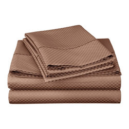 "Cotton Rich 800 Thread Count Microchecker Sheet Set - Queen - Taupe - Dress up your bedroom decor with this luxurious 800 thread count Cotton Rich microchecker sheet set.  These sheets are made of a superior quality blend of 55% Cotton and 45% Polyester making them soft, wrinkle resistant, and easy to care for. Set includes: (1) Fitted Sheet 60""x80"", (1) Flat Sheet 90""x102"", (2) Pillowcases 20""x30"" each."