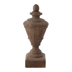 Kathy Kuo Home - Pair Diest Antique Oak Finished French Country Outdoor Urn - Beautiful grains of wood with chipped and aged details are seen on our cast resin urns. Can be grouped together in pairs or alone for a personal look.