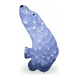 17 In. Acrylic Sitting Bear Christmas Decoration with 120 LED Lights - Measures 17 inch high. Pre-lit with 120 UL listed cool white LED lights. Low voltage LED bulbs are energy-efficient, long lasting and cool to the touch. For indoor or outdoor use. Packed in reusable storage carton.
