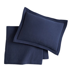 Peacock Alley - Bradley Coverlet, Navy, Cal-King - Bring casual flair to your bedroom with this textural coverlet. Woven of 100 percent Egyptian cotton, it boasts classic style and is just the right weight to make it a year-round must-have.