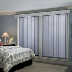 Fabric Verticals - Choose Bali Fabric Vertical Blinds from Blinds.com for your larger windows or sliding glass doors. Available in a beautiful array of fabrics, these blinds will add pizzaz to any room in your home. As the sun angles change throughout the day, these blinds will provide superior light control and then provide complete privacy at night.