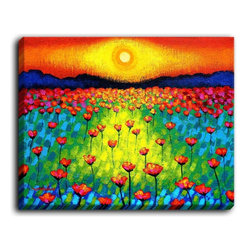 DiaNoche Designs - DiaNoche Canvas Wall Art by John Nolan Sunlit Poppies - DiaNoche Designs works with artists around the world to create fabulous and unique home decor products.  Canvas Wall Art is the finishing touch to every home, office, nursery, bedroom and living space.  Each artistic wall hanging is a reprint of an original art piece and comes ready to hang with hooks and a backing for a clean look and feel.  The inks are UV tested to ensure a fade free lifetime and can be cleaned with a damp cloth.  These are VERY sturdy creations that adds a touch of your class!  Choose unframed or a colored black or walnut fram made from a textured recycled plastic.