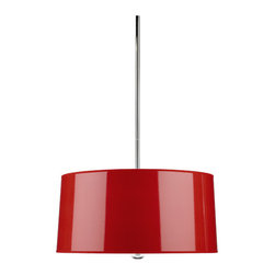 Robert Abbey - Robert Abbey Penelope Pendant R808 - Red Ceramic Parchment Shade with Silver Mylar Lining