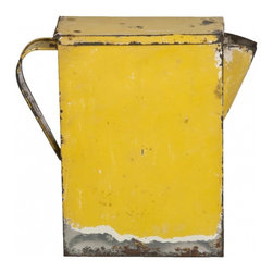 Detergent Box - Vintage rectangular tin pitcher used to store and pour laundry detergent in yellow distressed finish.