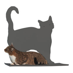 Cat Silhouette Cat Shelf Prance - Your kitty is one of your favorite things about your home; why be discreet about his presence? This cat silhouette wall shelf makes a proud style statement of your handsome feline while providing him with a cozy, padded platform to rest on. The laser-cut, powder-coated silhouette is available in a variety of colors, from subtle to boldly contrasting.