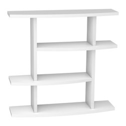 "Convenience Concepts - Northfield White Wave Bookshelf - The Northfield line by Convenience Concepts, Inc. is a beautiful edition to any home. Whether contemporary or traditional is the look you're going for, this 4 Tier Bookshelf with open design will create warmth as well as function. Attractive White Wood Grain Finish. 4 Spacious Shelves. Divided Shelves Create a Unique way to Display Everything From Books to Collectibles. Easy Assembly, All Tools and Hardware Provided. Quality Construction will Provide Years of Enjoyment.; 4 Tier Bookshelf, fits easy with any decor; Attractive white wood grain finish; Divided shelves create a unique way to display everything from books to collectibles; Easy assembly -- all tools and hardware provided; Quality construction -- will provide years of enjoyment; No Lead content.; Country of Origin: China; Weight: 43 lbs; Dimensions: 40.25""H x 47.25""W x 11.375""D"