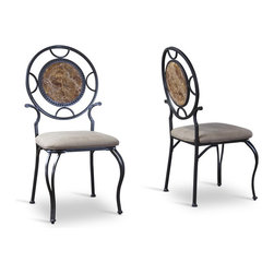 Baxton Studio - Baxton Studio Verona Wood and Metal Contemporary Dining chair-Set of 2 - Experience the marvels of marble with our Verona Wood and Metal Dining chair. Curved and circular antique-black metalwork durable construction distinguishes this discount-priced dining chair. Marble-patterned wooden chair backs and tan fabric seat upholstery impart an air of warmth and elegance.