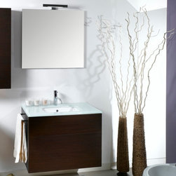 Iotti - 32 Inch Bathroom Vanity Set - High style, functional excellence and long life are here in this vanity set and available in these waterproof finishes: Glossy White, Wenge, Gray Oak and Natural Oak. The white glass topped vanity cabinet has an inset white ceramic sink and plenty of countertop space for your toiletries. Push-to-open drawers in the vanity cabinet give you easy access to storage. The high tech, five layered mirror resists scratches and corrosion. A product of superior Italian design and workmanship. Set Includes: . Vanity Cabinet (2 drawers). Fitted ceramic sink with glass top (31.5 inch ). Mirror (30.9 inch x 27.7 inch ). Vanity Light (11.8 inch ). Vanity Set Features:. Vanity cabinet made of engineered wood. Cabinet features waterproof panels and push to open drawers. Available in Wenge (as shown), Glossy White, Natural Oak, Gray Oak. Cabinet features 2 drawers. Faucet not included. Perfect for modern bathrooms. Made and designed in Italy. Includes manufacturer 5 year warranty.