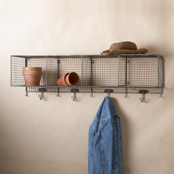 Wright's Peak Wall Storage With Hooks - This wrought iron shelving unit is perfect for right inside the kitchen door. I can hang lightweight jackets, toss my keys inside a bin and use the other sections for cookbooks and miscellaneous quasi-kitchen supplies.