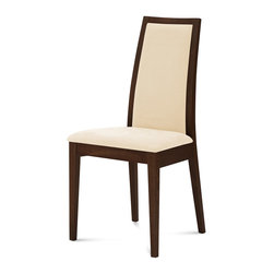 DomItalia Furniture - Topic Modern Dining Chair in Wenge / Beige (Set of Two) - Create a warm and inviting dining settings with the pair of Topic chairs. The chairs come with beechwood frames in Wenge finish, and fabric upholstered seats in Long life Beige.