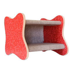 Davies Decor - Googie Cat Bed, Red Ellipse/Tan - Inspired by the Googie style of architecture (think 1950s coffee shops with their curvy signs and boomerang patterns on the countertops), the Googie Cat Bed celebrates the spirited optimism of postwar America. Solidly constructed of plywood laminated by Formica and sheathed in carpet made of 100% post consumer recycled bottles and padded inside, the Googie Cat Bed adds fun to both your home and your cat's day. Formica pattern: Red Ellipse. Carpet color: Tan.